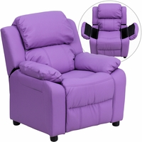 Deluxe Contemporary Lavender Vinyl Kids Recliner with Storage Arms