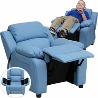 Deluxe Contemporary Light Blue Vinyl Kids Recliner with Storage Arms
