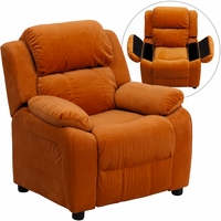 Deluxe Contemporary Orange Microfiber Kids Recliner with Storage Arms