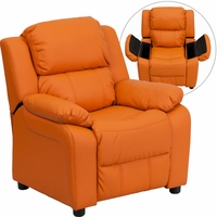 Deluxe Contemporary Orange Vinyl Kids Recliner with Storage Arms