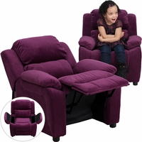 Deluxe Contemporary Purple Microfiber Kids Recliner with Storage Arms