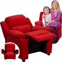 Deluxe Contemporary Red Microfiber Kids Recliner with Storage Arms