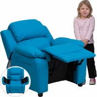 Deluxe Contemporary Turquoise Vinyl Kids Recliner with Storage Arms