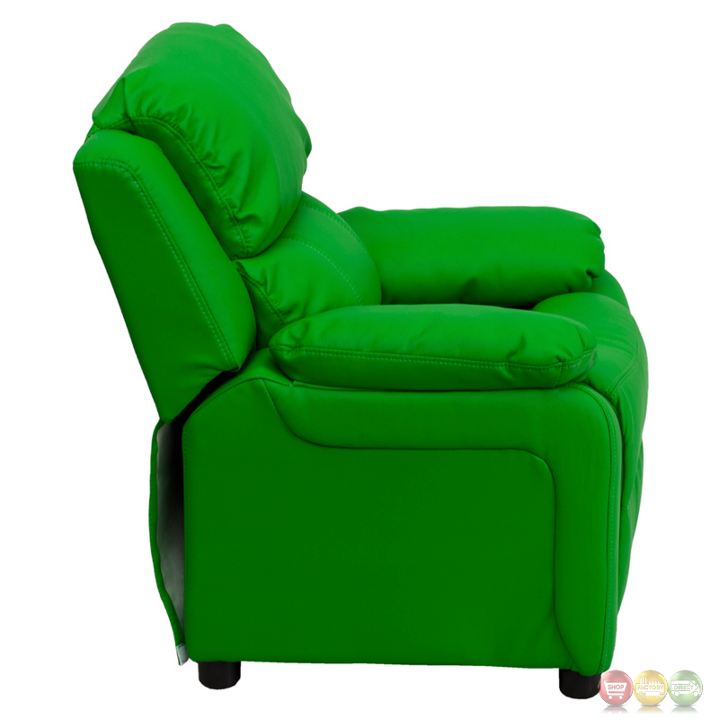 Deluxe Heavily Padded Contemporary Green Vinyl Kids