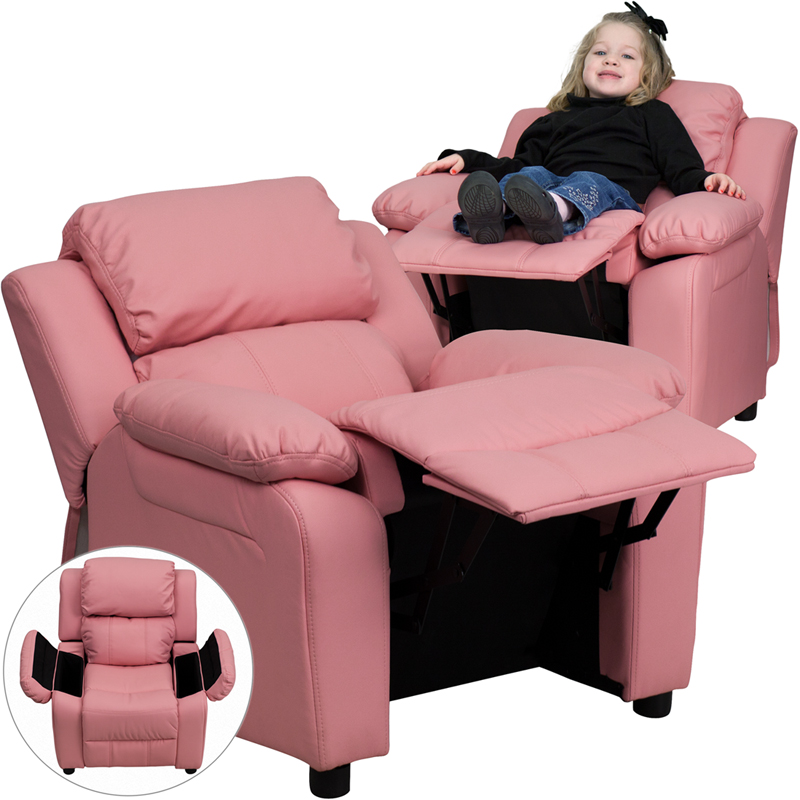 Pleasing Details About Deluxe Heavily Padded Contemporary Pink Vinyl Kids Recliner With Storage Arms Andrewgaddart Wooden Chair Designs For Living Room Andrewgaddartcom