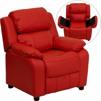 Deluxe Heavily Padded Contemporary Red Vinyl Kids Recliner with Storage Arms