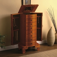 Deluxe Style Oak Finish Jewelry Storage Armoire Box