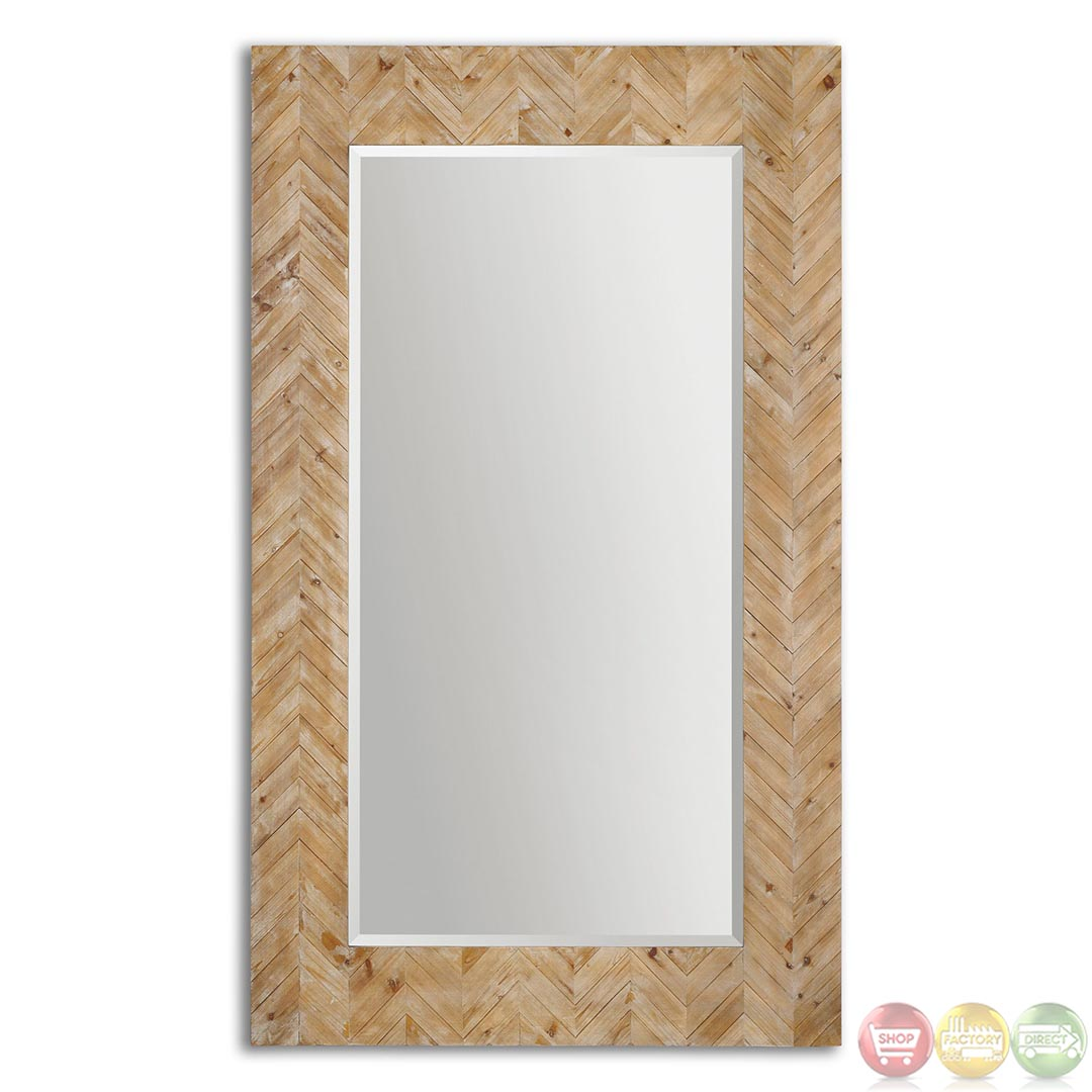 demetria rustic braided wood frame mirror 07068