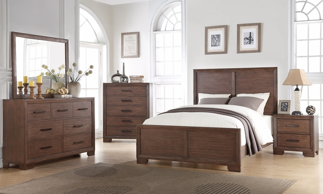 Denali Contemporary 4-piece King Bedroom Set In Dark Wood Finish