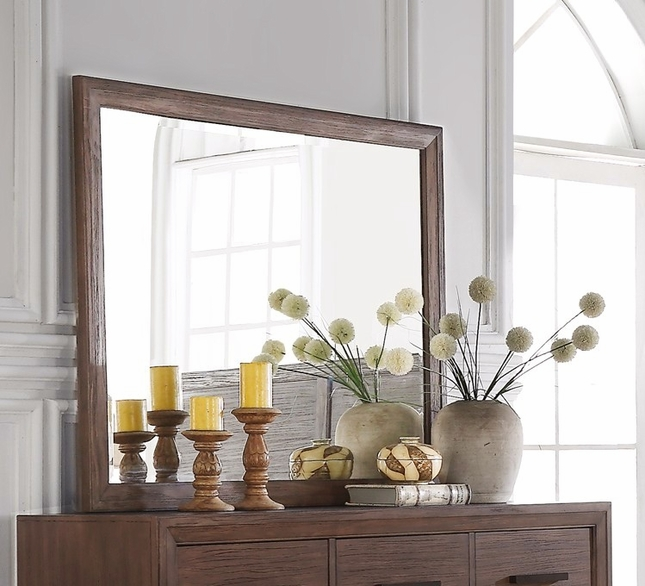 Denali Contemporary Beveled Mirror Encased In Dark Wood Finish