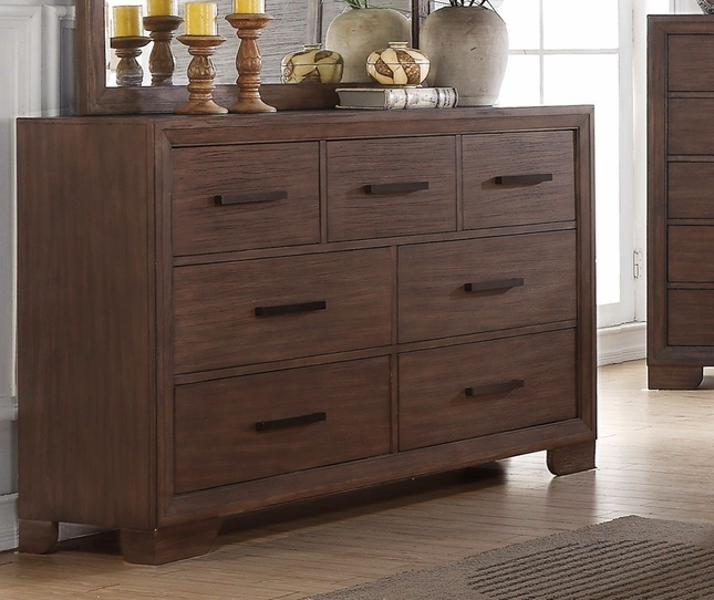 Denali Contemporary Luxury 7-drawer Dresser In Dark Wood Finish