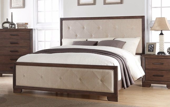 Denali Modern Diamond Patterned Upholstered King Bed In A Wood Finish