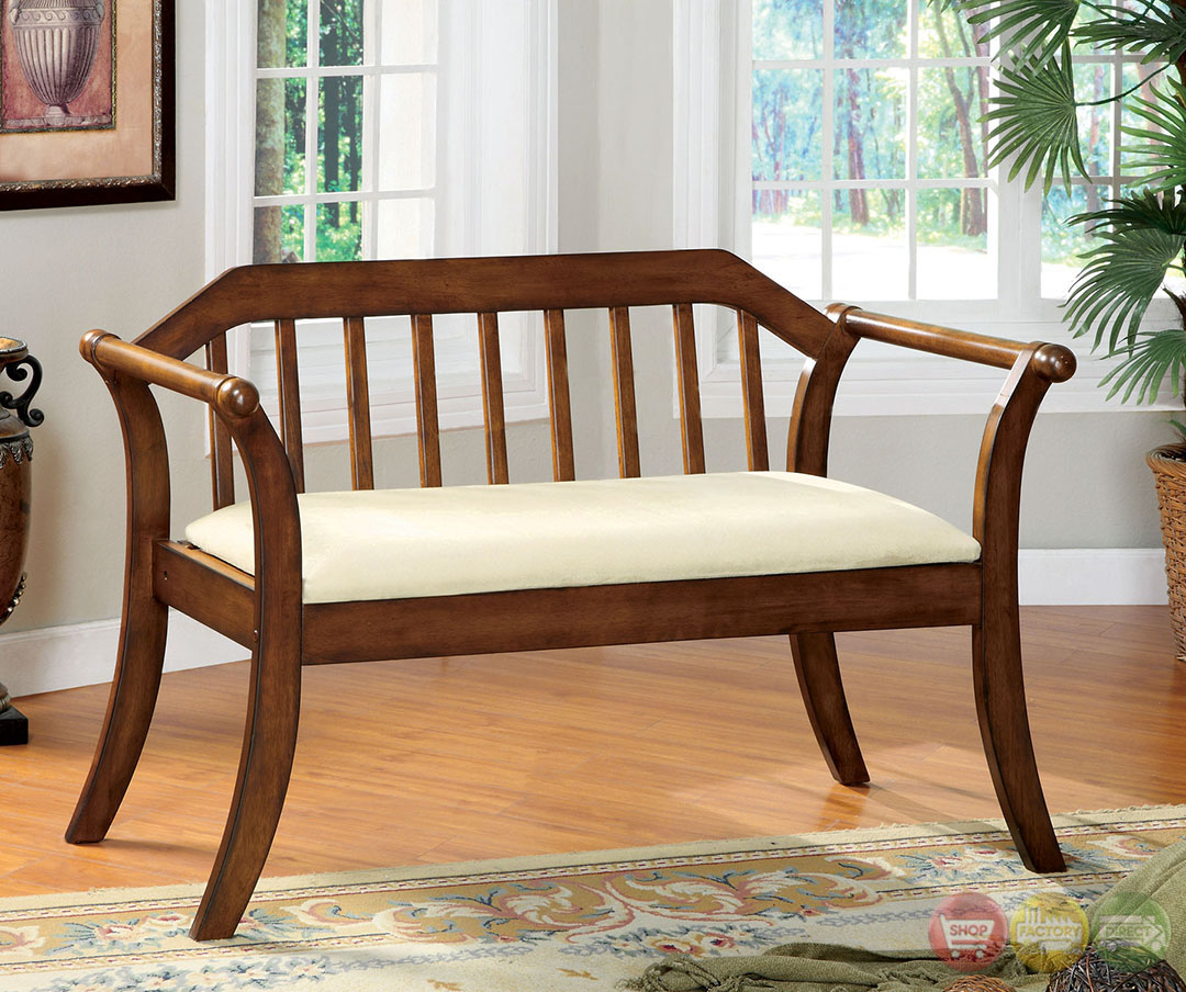 Derby modern dark oak bench with padded seat Padded bench seat