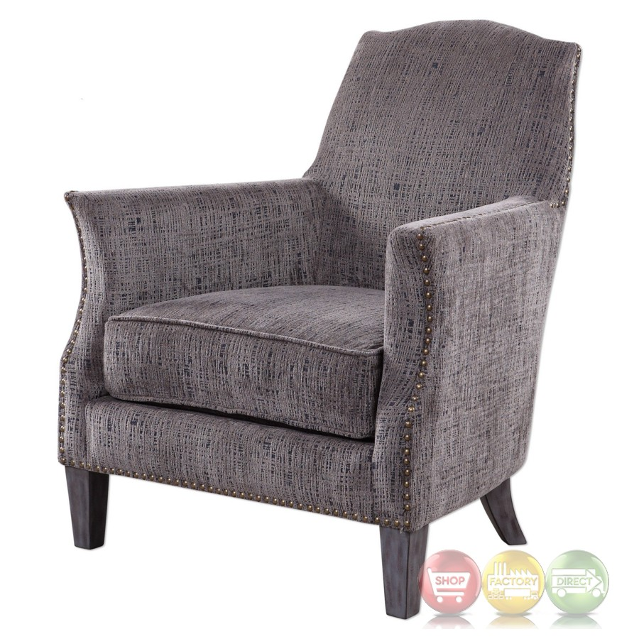 Dermot Soft Gray Accent Chair With Bronze Nail Head Trim