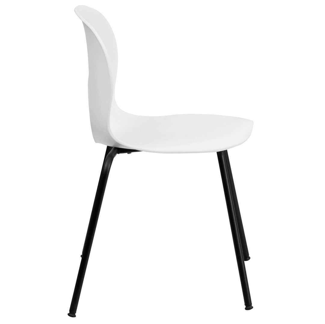 Designer white plastic stacking chair with black powder coated frame finish rut nc258 white gg - White resin stacking chairs ...