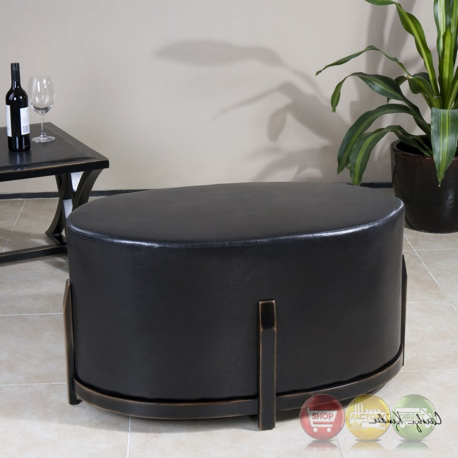 Shop Dark Brown Metal Frame Faux Leather Kitchen And: Desta Cushioned Espresso Brown Faux Leather Ottoman With