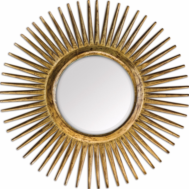 Destello Traditional Heavily Distressed Sanded Gold Leaf Mirror With Unique