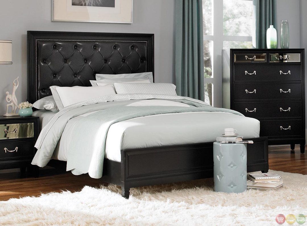 Devine black finish contemporary bedroom set Bedroom design ideas with black furniture