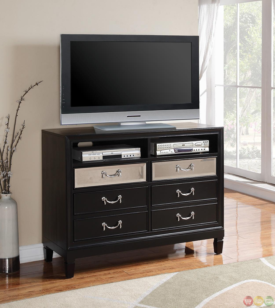 devine black finish contemporary bedroom set