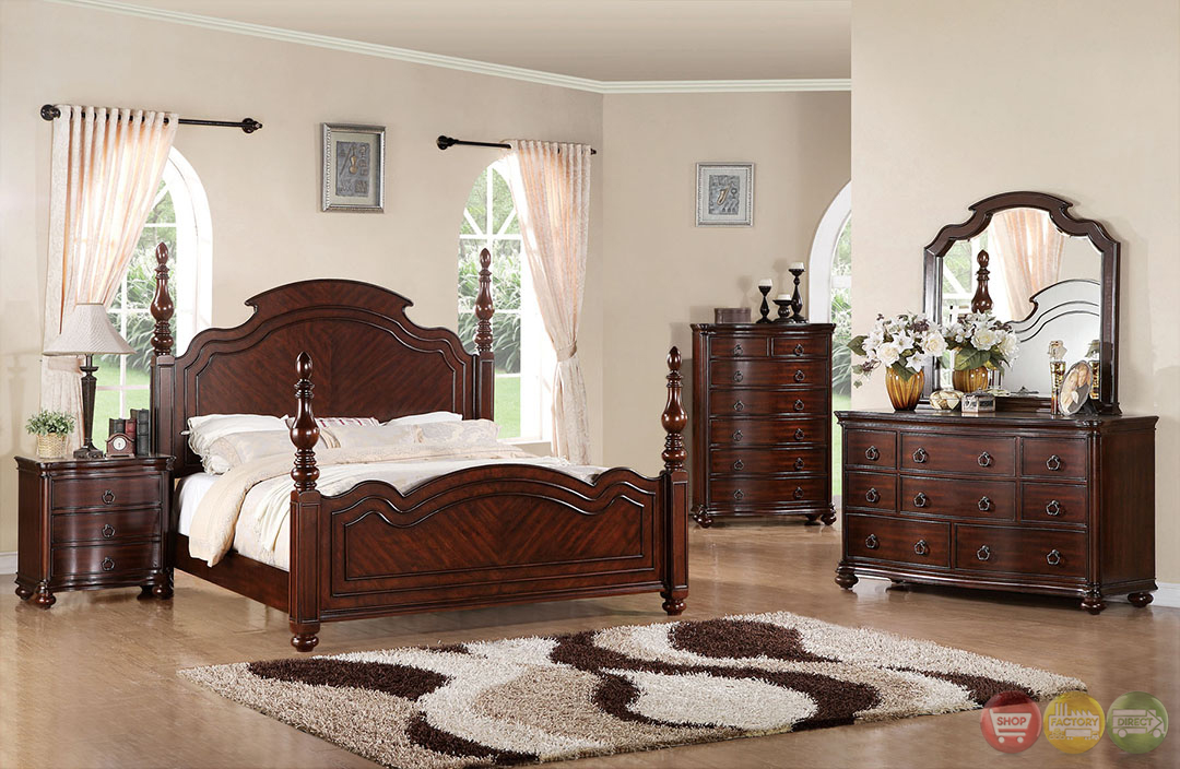 devonshire modern english brown cherry turned posts bedroom set with antique gold knobs cm7265. Black Bedroom Furniture Sets. Home Design Ideas
