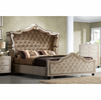 Diamond Golden Beige Velvet Upholstered King Canopy Bed With Crystal Tufting