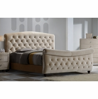 Diamond Golden Beige Velvet Upholstered Queen Sleigh Bed With Crystal Tufting