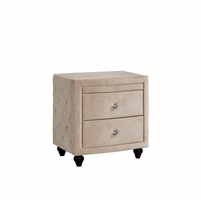 Diamond Golden Beige Velvet Upholstered Night Stand With Crystal Tufting