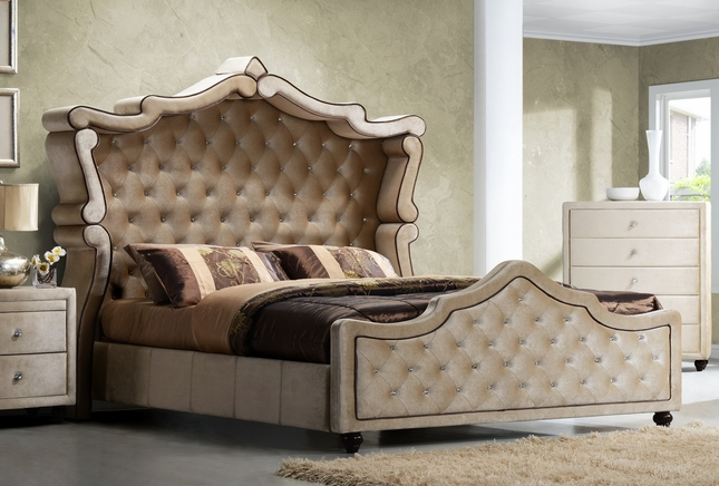 Golden Beige Velvet Upholstered Queen Canopy Bed With Crystal Tufting