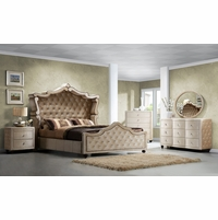 Diamond Queen Canopy 4-Pc Bedroom Set  in Golden Beige Crystal Tufted Velvet
