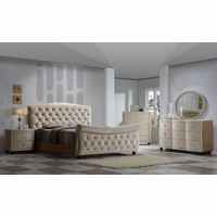 Diamond Queen Sleigh 4-Pc Bedroom Set in Golden Beige Crystal Tufted Velvet