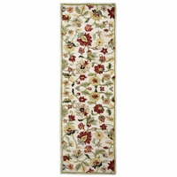 """Rizzy New Zealand Wool Runner Area Rug 2'6""""x 8'Khaki Red Green Tan Yellow Floral"""