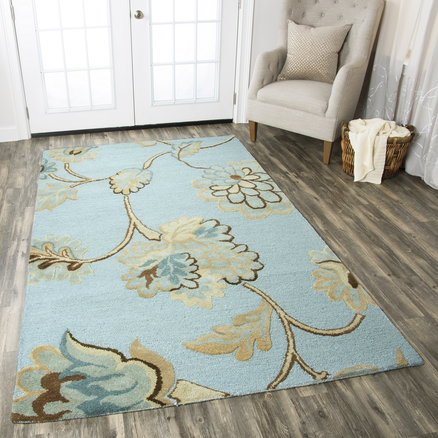 Dimensions Garden Blossom Wool Area Rug In Blue Gray Brown