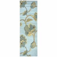 """Dimensions New Zealand Wool Runner Area Rug 2'6""""x 8'Blue Yellow Tan Brown Floral"""