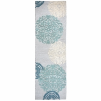 """Dimensions New Zealand Wool Runner Area Rug 2'6""""x 8' Blue Grey White Medallion"""