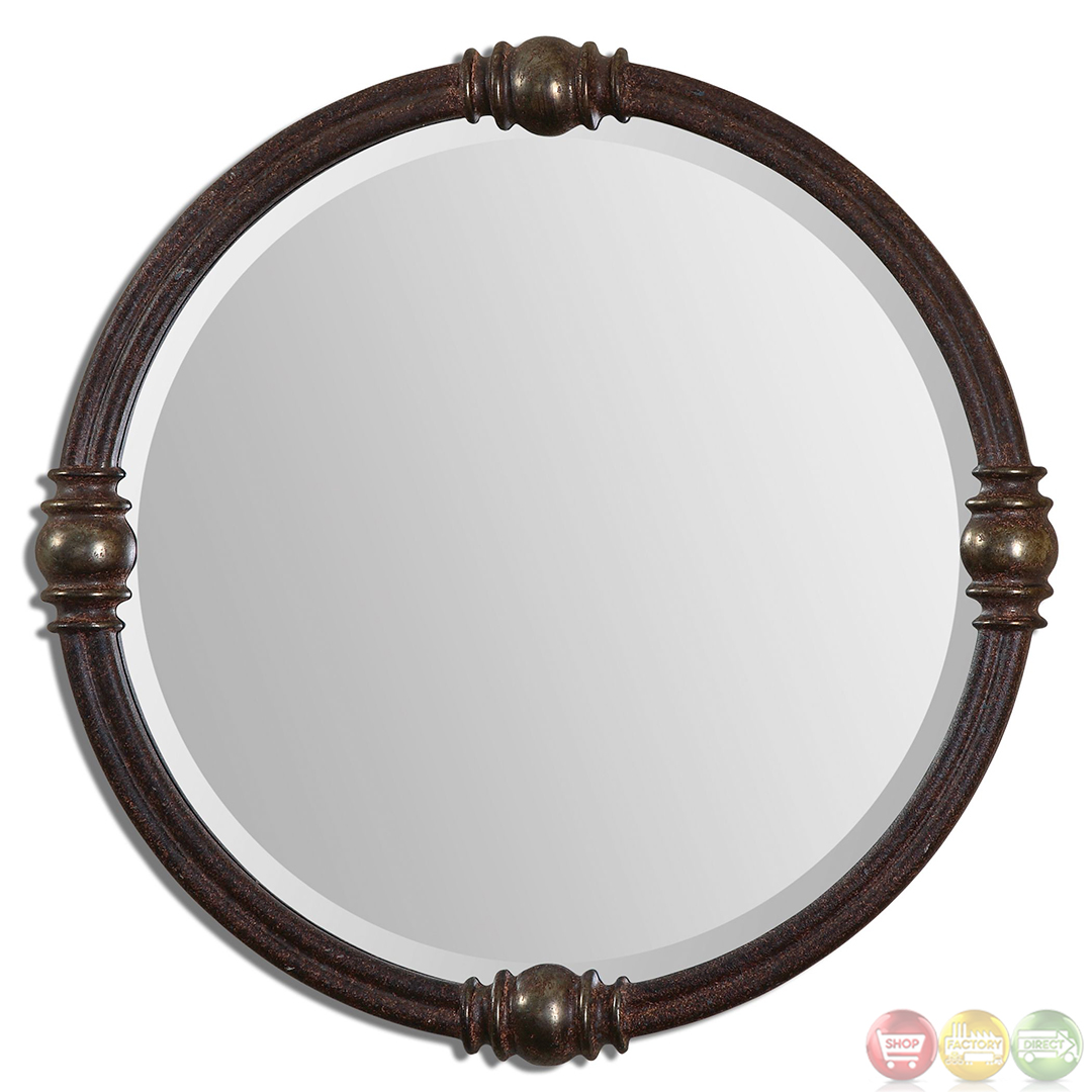 Dinora traditional rust bronze round mirror with sphere for Round mirror