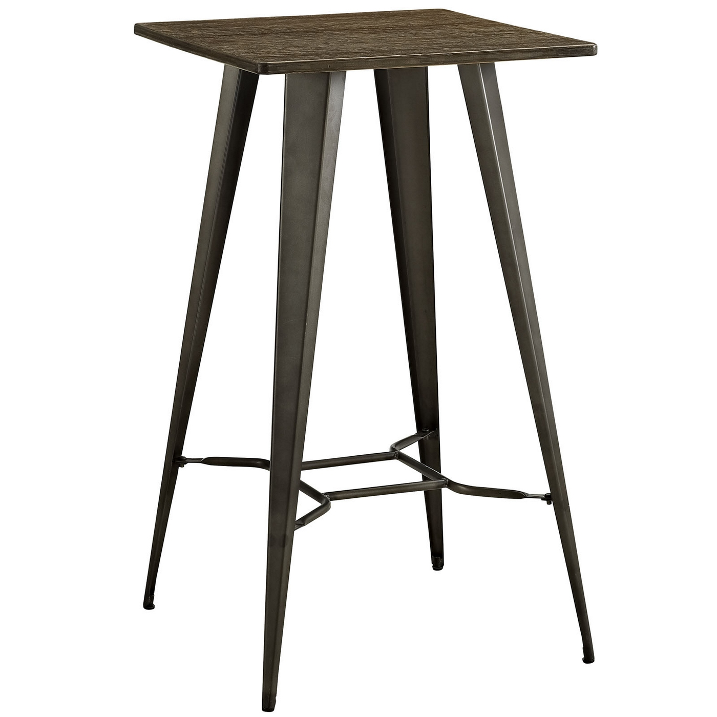 Direct industrial bamboo top bar table with steel legs brown for But table bar