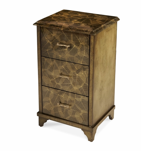 Discoveries Leaf Inlay 3 Drawer Cabinet BURM-001 by AICO