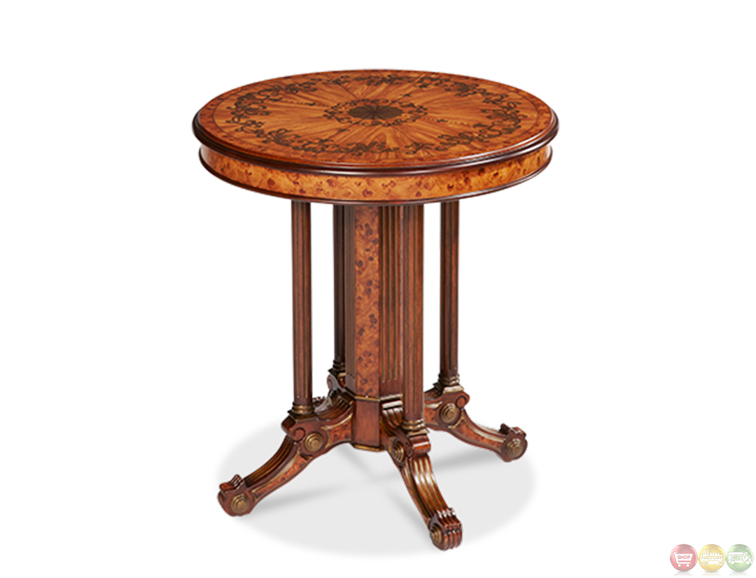 Discoveries light brown wood round accent table lxng 112 for Round wood end table