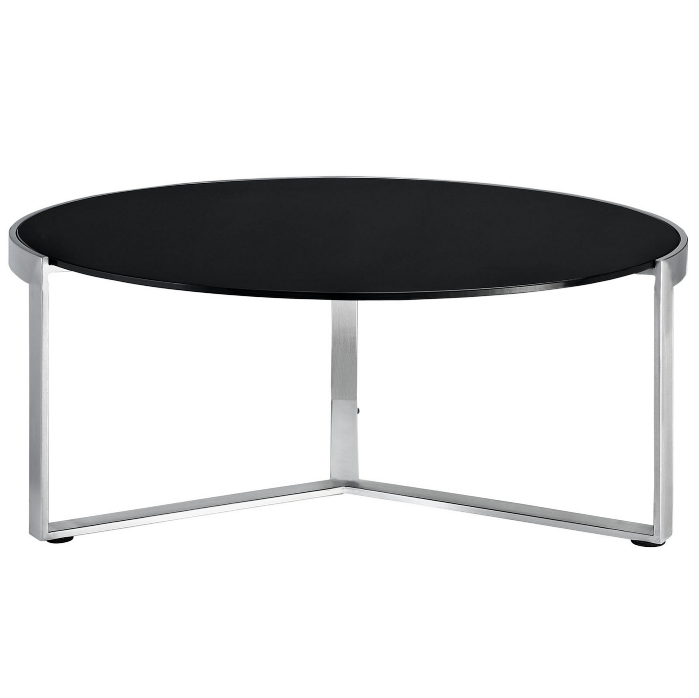 Disk Industrial Glass Top Round Coffee Table W Stainless Steel Base Black