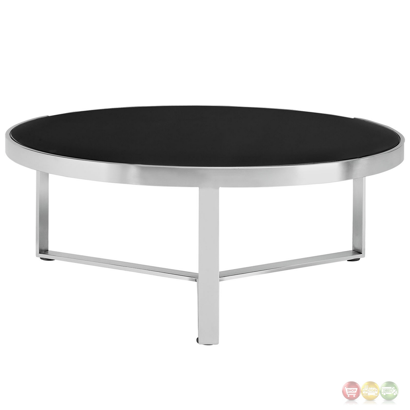Disk industrial glass top round coffee table w stainless steel base black Metal glass top coffee table