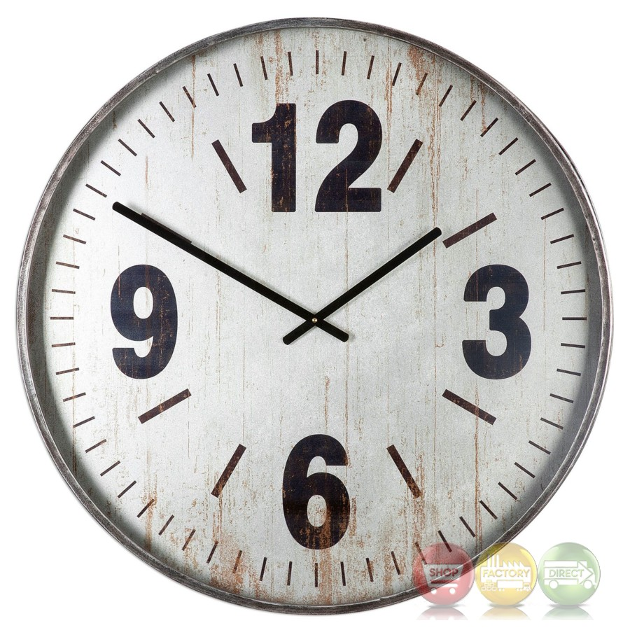 Distressed nautical marino oversized wall clock in brushed Oversized metal wall clocks