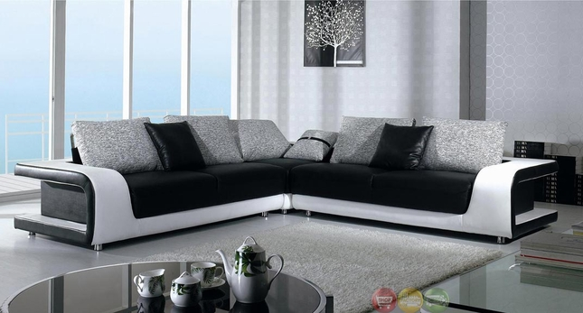 Miraculous Divani Casa Black And White Leather And Fabric Sectional Sofa Pabps2019 Chair Design Images Pabps2019Com