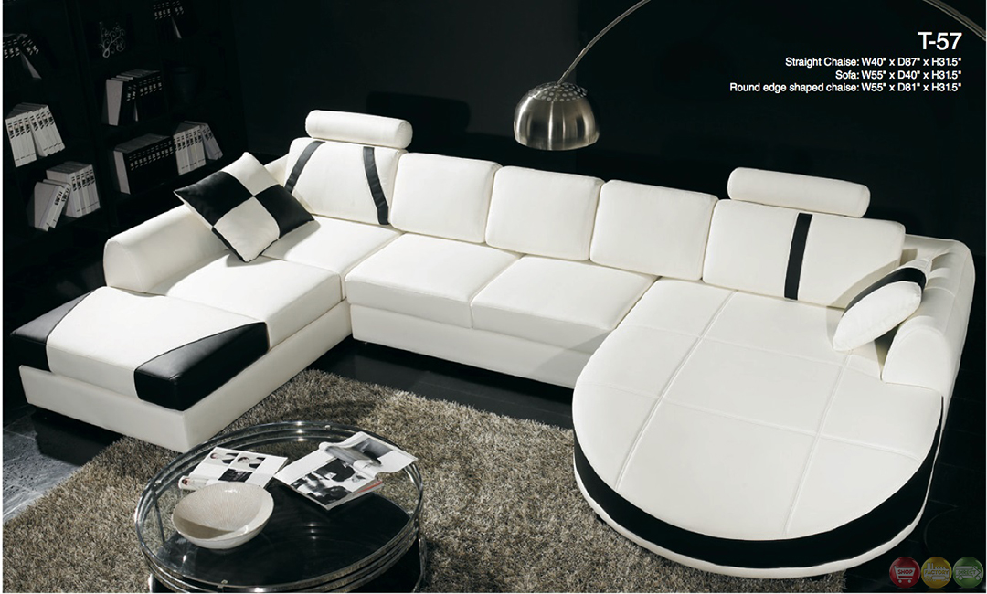 Divani casa black and white leather sectional sofa dual for Black leather chaise lounge sofa