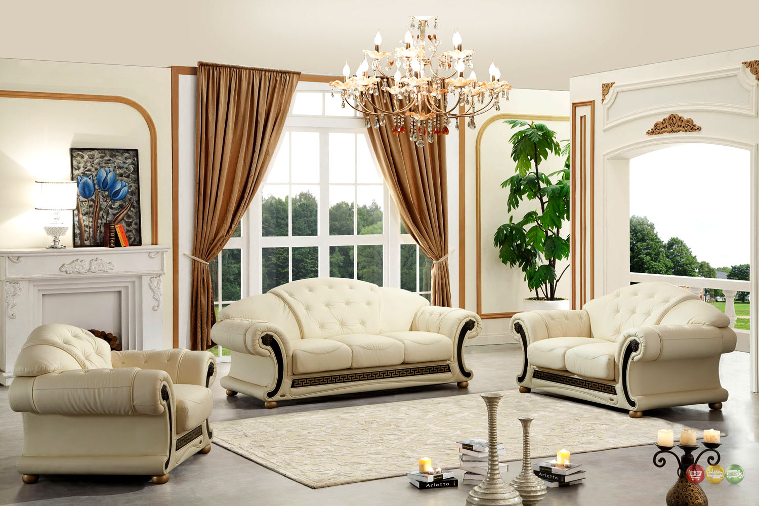 versace cleopatra cream italian top grain leather beige living room sofa set. Black Bedroom Furniture Sets. Home Design Ideas