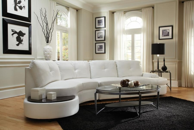 Divani Casa Canelli Contemporary White Bonded Leather Sectional Sofa