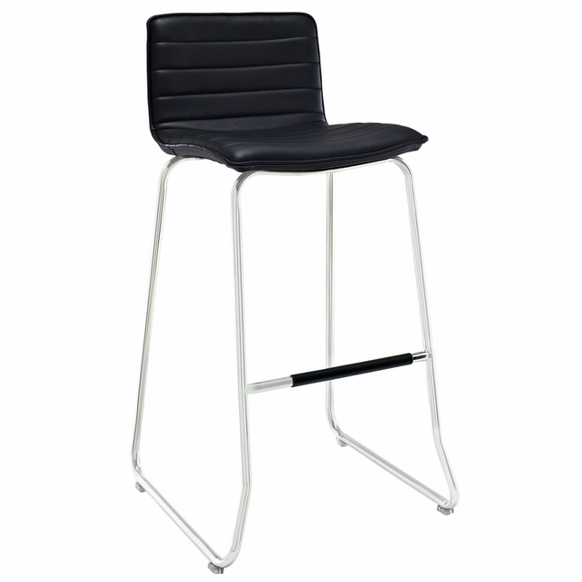 Dive Contemporary Upholstered Bar Stool With Aluminum Base, Black