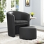 Divulge Modern Upholstered Armchair With Matching Ottoman, Black