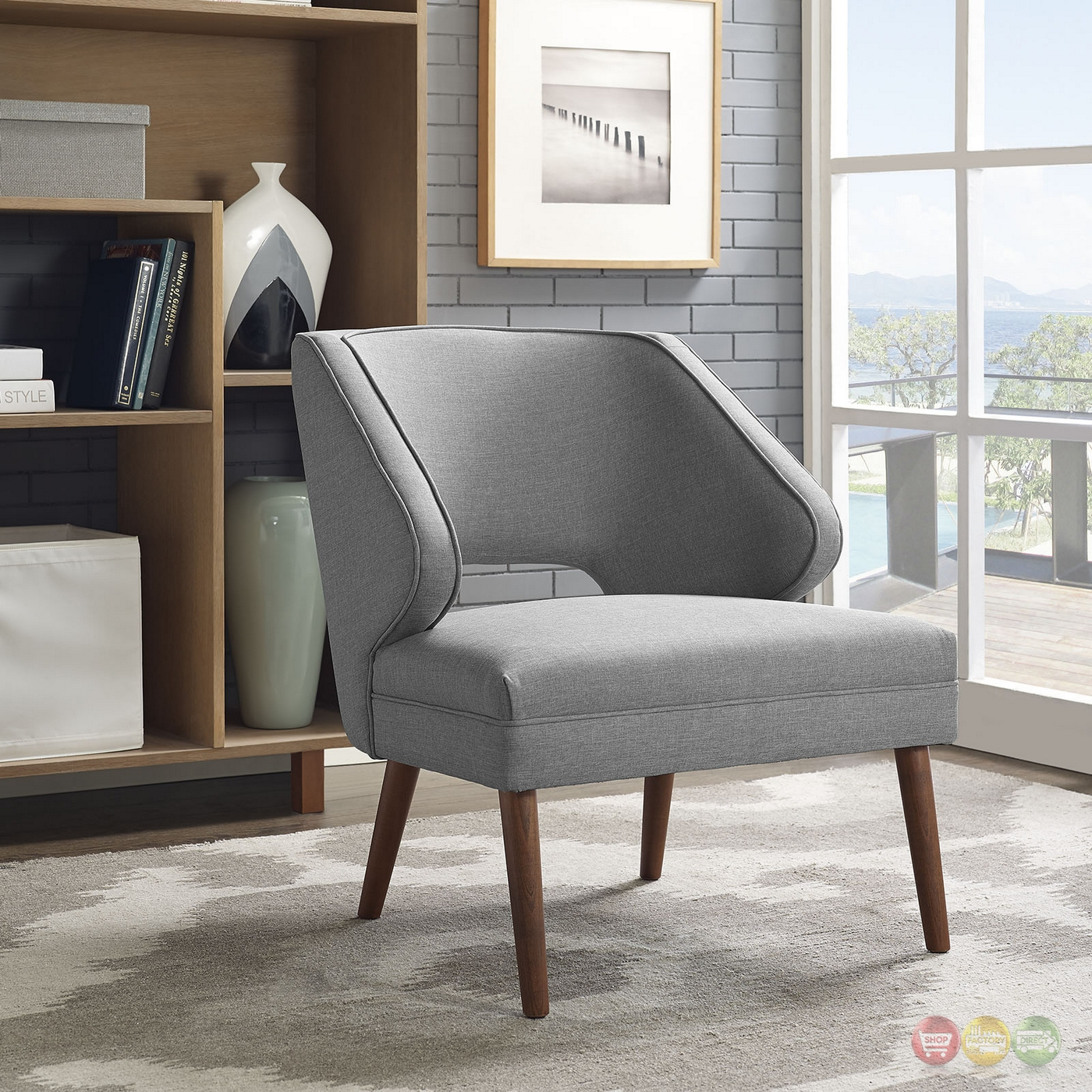 Dock Modern Fabric Upholstered Armchair With Dowel Wood ...