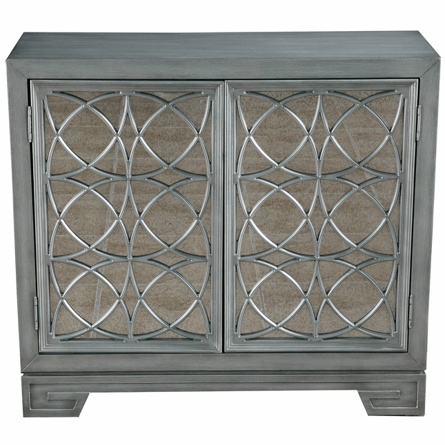 Doheny Antiqued Mirror 2 Door Wine Cabinet In Silver Finish W Light Blue Interior