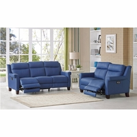 Dolce Real Leather Sofa & Loveseat w/ Power Recline, Headrest & Lumbar in Blue